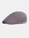 पुरुषों कपास सादा रंग समायोज्य आरामदायक फ्लैट टोपी आगे टोपी टोपी टोपी - धूसर