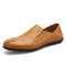 Men Comfy Leather Breathable Non Slip Slip On Casual Driving Loafers - Yellow Brown