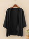 Solid Color 3/4  Sleeves Casual Thin Cardigan For Women - Black