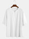 Mens 100% Cotton Light Breathable Solid Color Mid-sleeved T-shirt - White