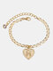 Luxury 26 English Letters Women Anklet Wild Heart Pendant Anklet Jewelry Gift - H