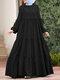 Muslim Solid Color Long Shirt Sundress Casual Pleated Maxi Dress - Black