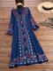エスニックプリントハーフスリーブAラインエレガントPlusサイズのドレス - 青い