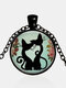 Vintage Geometric Glass Printed Women Necklace Cute Cartoon Cat Sweater Chain Clavicle Chain - #03
