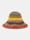 Wowen Striped Rainbow Contrast Color Beach Casual Foldable Straw Hat - Khaki