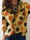 Women Leaf Print Button Casual Shirt With Pocket - Yellow