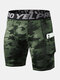 Mens Solid Color Topstitch Fitness Letter Waistband Quick Dry Sporty Shorts - Dark Green