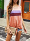 Contrast Color O-neck Sleeveless Knotted Women Tank Top - Pink