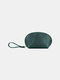 Men Genuien Leather Retro Mini Cute Hand-carry Storage Bag Coin Bag Wallet - Dark Green