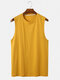 Mens Cotton Breathable Solid Color Round Neck Casual Tank Top - Yellow