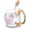 Tasse à café en verre émaillé pétales de fleurs de prunier avec tasse en verre à thé de fantaisie créative avec boîte-cadeau