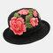 Women Embroidery Printed Straw Hat Ethnic Style Retro Sun Hat - Black1