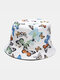 Women & Men Double-Sided Colorful Butterflies Pattern Outdoor Casual Sunshade Bucket Hat - White
