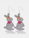 Easter Cute Bunny Print Earrings Leather Stitching Drop Earrings - #02