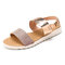 Women Two Tone Double Band Comfy Wearable Beach Casual Slip On Sandals - Gold