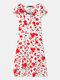 Floral Print V-neck Button Short Sleeve Dress For Women - White