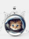 Vintage Printed Cat Cover Quilt Women Necklace Cat Ear Glass Pendant Sweater Chain - Silver