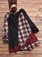 Casual Print Plaid Patchwork Plus Size Knit T-shirt - Black
