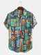 Mens Cotton Ethnic Printed Funny Short Sleeve Loose Casual Shirt - Green