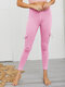 Casual Solid Color Elastic Waist Plus Size Sport Legging with Pockets - Pink
