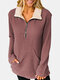 Solid Color Zip Front Pocket Casual Sweater For Women - Rust