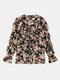 Floral Print Chiffon V-neck Ruffle Long Sleeve Casual Blouse For Women - Black