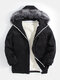 Mens Corduroy Sherpa Lined Thicken Hooded Overcoats With Faux Fur Collar - Black
