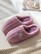 Soft Comfortable Striped Pattern Warm Plush Closed Toe Home Shoes For Women - Purple