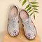 LOSTISY Chaussures plates larges brodées de fleurs quotidiennes rétro pour femmes - gris