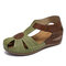 LOSTISY Women Flower Hollow Breathable Non Slip Beach Casual Wedges Sandals - Green