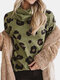 Leopard Print Turtle-neck Casual Long Sleeve Plus Size Blouse - Army
