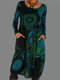 Vintage Long Sleeve Casual Print Dress For Women - Blue