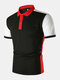 Mens Contrast Panel Patchwork Casual Short Sleeve Golf Shirts - Black