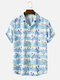 Mens Flower Horizontal Stripe Print Lapel Short Sleeve Holiday Shirts - Blue