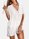 女性のかぎ針編みの中空カバーはプレーンVネックサイドスリットライト水着を持ち上げます - 白い