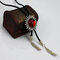 Vintage Bolo Tie Adjustable Red Sun Collar Feather Tassels Wax Rope Tie Ethnic Jewelry for Men - Red