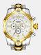 Large Dial Men Business Watch Multifunctional Luminous Calendar Waterproof Quartz Watch - White Dial Between Gold Band