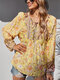 Holiday V-neck Knotted Long Sleeve Flower Print Blouse - Yellow