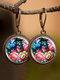 Vintage Glass Gemstone Dangle Earrings plant Flower Pattern Women Pendant Earrings Jewelry - #04