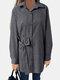 Bowknot Striped Print Long Sleeve Cotton Shirt For Women - Black