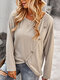 Solid Long Sleeve O-neck Button T-shirt for Women - Apricot