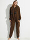 Plus Size Women Flannels Onesie Pajamas Hooded Thermal Front Zipper Jumpsuits For Winter Spring - Coffee
