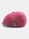 Men Plus Velvet And Thick Plain Color Flat Cap Metal Badge Newsboy Hat Octagonal Hat Beret Hat - Wine Red