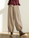 Casual Ankle-tied Loose Cargo Plus Size Pants - Khaki