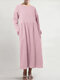 Casual Solid Color Pleated Long Sleeve Plus Size A-line Dress - Pink