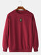 Mens Plain Solid Color Little Tag O-neck Sweatshirts - Red