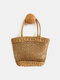 Women Beach Hollow Out Manual Straw Handbag Tote - Brown