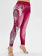 Peacock Feather Print High Waist Plus Size Denim Legging - Wine Red