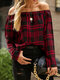 Plaid Print Button Long Sleeve Blouse For Women - Red