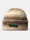 Women & Men Tie-dye Color Gradient Mixed Color Warm Ear Protection Brimless Beanie Knitted Hat - #03